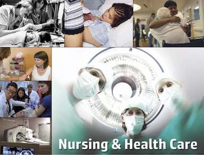 Nursing and Health Care postcard flyer